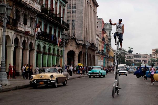 APTOPIX Cuba Tall Bike