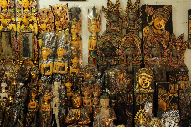 Different faces of Bali on sale at Pasar Sukowati, Bali