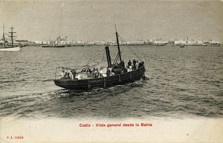 El AUXILIAR Nº 2 en la bahia de Cádiz. Postal. Fecha indeterminada.JPG