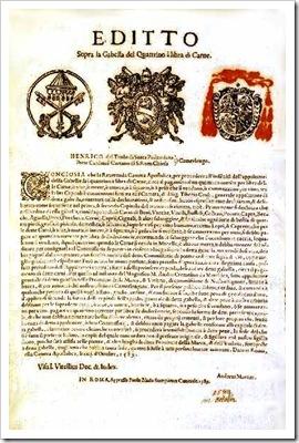 Editto gabella di un quattrino per libbra di carne Stato Pontificio