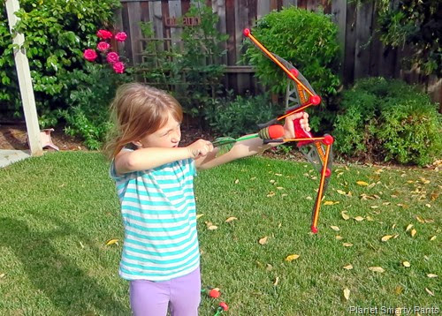 Practicing archery outside