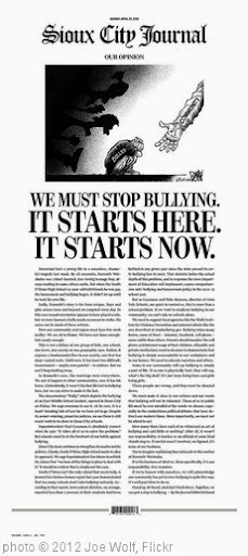 'Bullying:  It Stops With All of Us.  Front Page of the 04.22.12 Sioux City (IA) Journal' photo (c) 2012, Joe Wolf - license: http://creativecommons.org/licenses/by-nd/2.0/