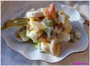 """Салат из фруктов """"Разноцветный"""" www.samapovar.ru"""