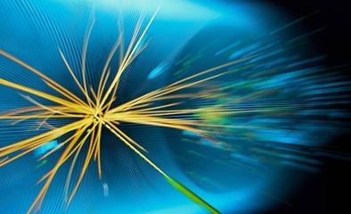 representação gráfica de colisão de prótons realizada no LHC