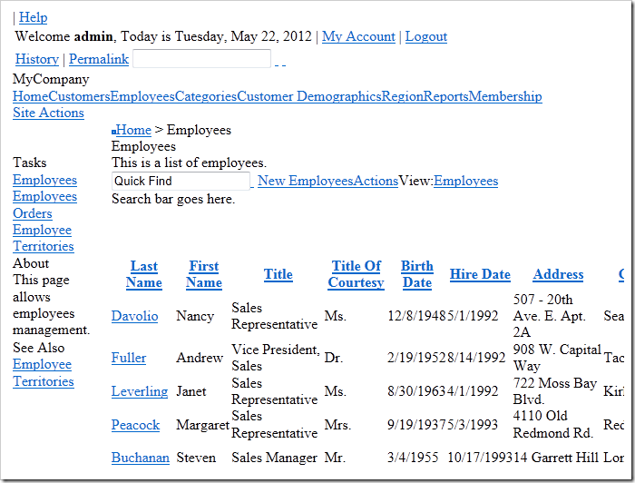 Employees page of a Code On Time web application with CSS disabled.