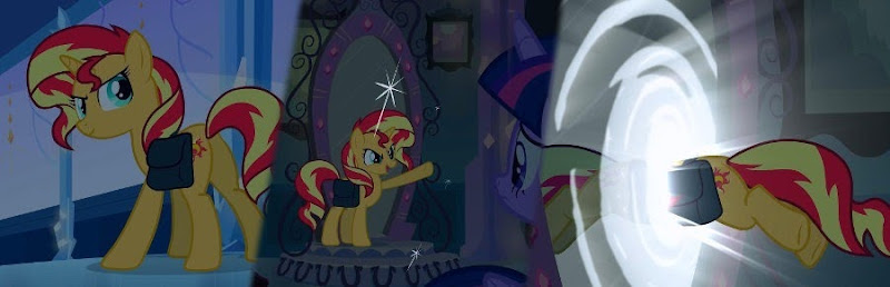 A three panel composite of Sunset Shimmer looking mischeviously over her shoulder, giving a cocky wave as she prepares to escape, and jumping through the mirror-portal to the human world.