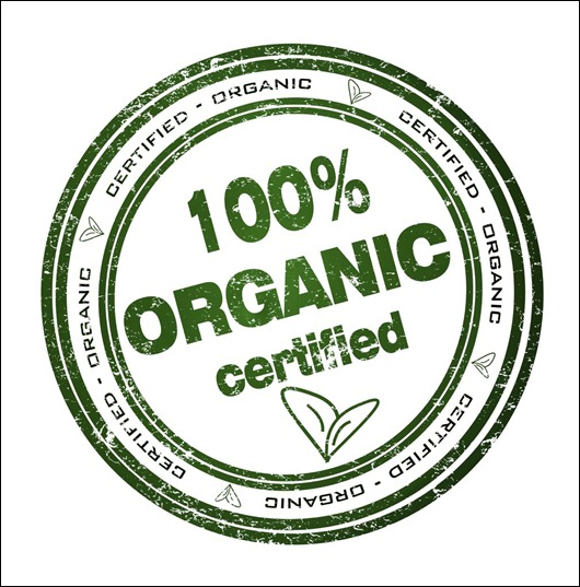 Round stamp with text: 100% Organic