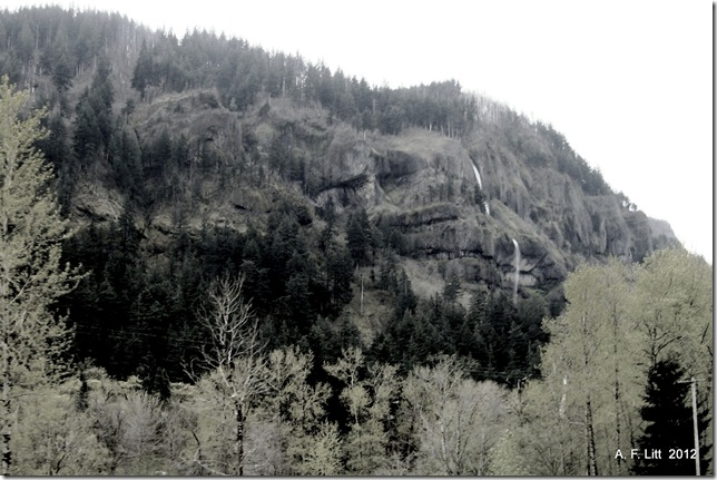 Mist Falls from I-84.  Photo of the Day, January 28, 2012.  Columbia River Gorge, Oregon.  April 16, 2008.
