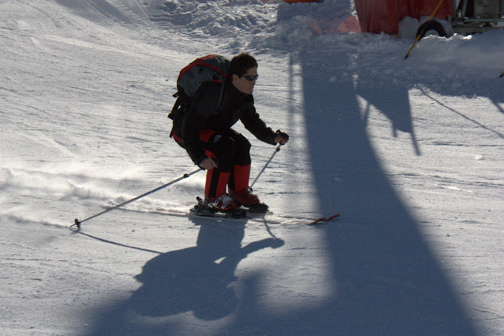 Nick lining up to launch himself off the mountain