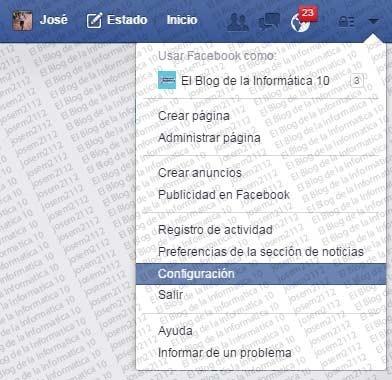 Desactivar invitaciones a juegos en Facebook - opción configuración cuenta facebook