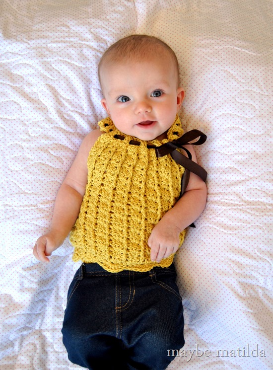 Sweet crochet baby top! www.maybematilda.com