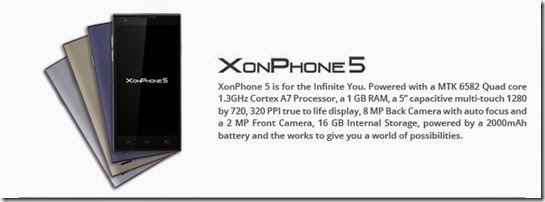 Buy Oplus XonPhone 5 at Rs.7601 (16GB, 1.3 Ghz Quadcore, Dual Sim full HD)