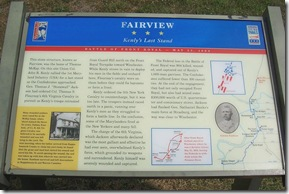 Fairview Civil War Trail marker where Battle of Front Royal ended