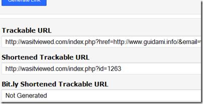 Wasitviewed link di tracciamento generati