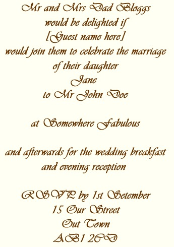 Wedding Invitation Wording Ceremony Reception Different Locations
