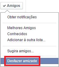 Clique em Desfazer amizade - Facebook