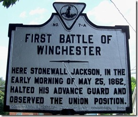 First Battle of Winchester marker A-7 in Winchester, VA