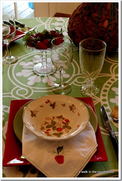 memories of strawberry girl tablescape