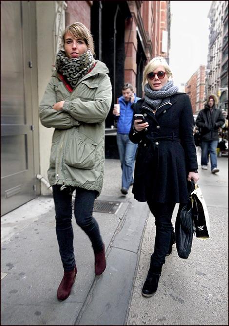 w2  chem coat skinny jeans big scarf dark blue dbl breasted silver button coat retro shades ol