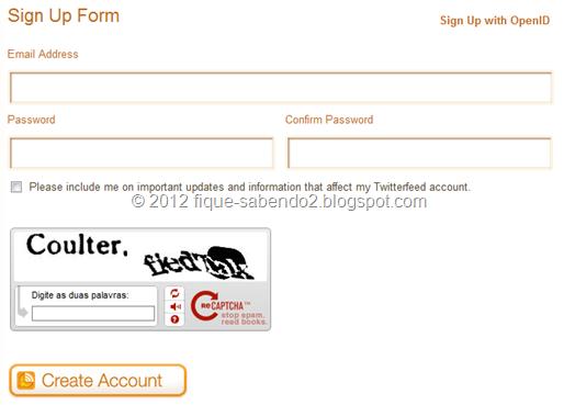 Coloque as informações e clique em Create Account