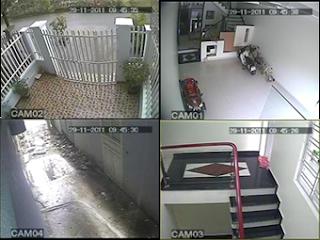 giao diện lắp đặt 4 camera quan sát