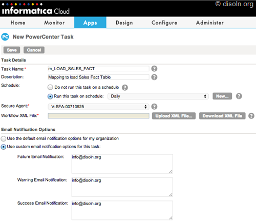 Informatica Cloud for PowerCenter Task