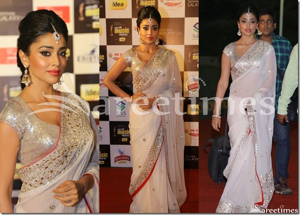 Shriya_White_Georgette_Saree