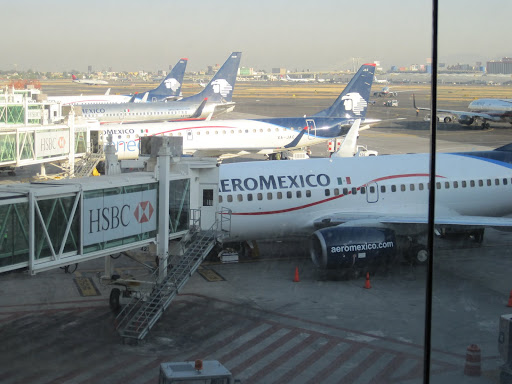 AeroMexico planes lined up at Mexico City's airport.