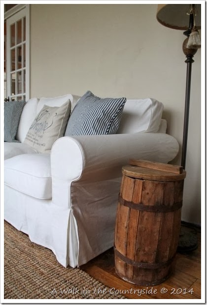 vintage barrel as an end table