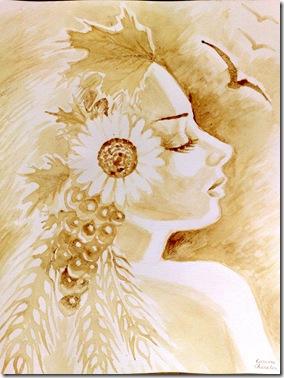 Portretul Demetrei pictat cu cafea - Coffee painting of Demeter