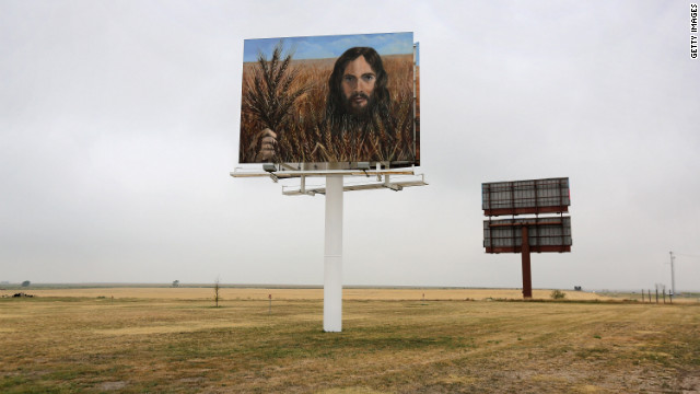 A billboard, 'Jesus in the Wheat', stands alongside Interestate 70 on 24 August 2012 in Colby, Kansas. The billboard was erected by local residents Tuffy and Linda Taylor. 'We just put it up there to minister', Linda Taylor told the Hays Daily News. CNN