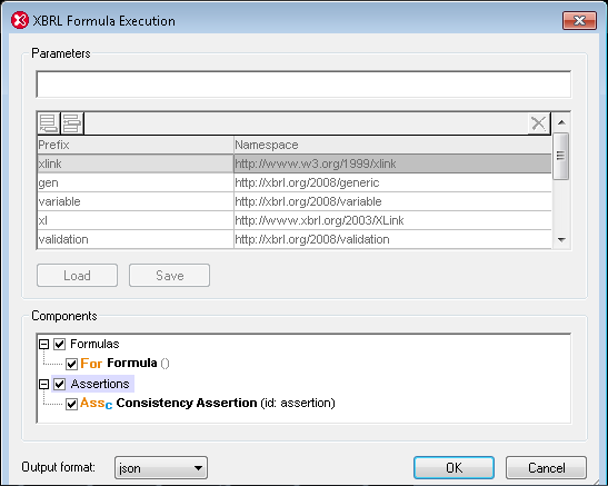 Dialog for calculating XBRL Formula