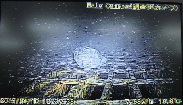 A rock is shown inside the primary containment vessel of the No. 1 reactor at the Fukushima No. 1 nuclear plant in this image taken by a robot on 10 April 2015. How the rock got there is not yet known, but the robot lasted less than three hours in the deadly radioactive chamber. Photo: TOKYO ELECTRIC POWER CO. / KYODO