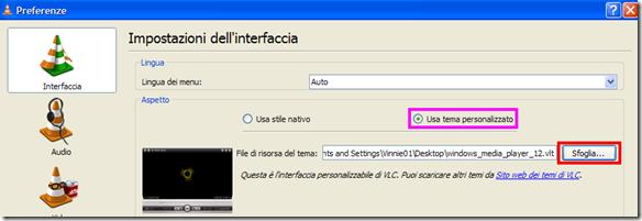 VLC abilitare e settare i temi personalizzati
