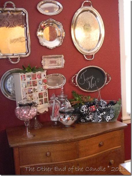 Christmas Apothecary Jars & Silver Trays