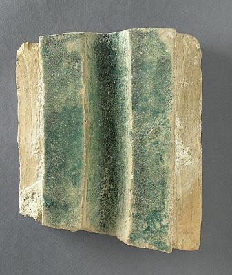 Tile | Origin: Algeria, Qalat bani Hammad(?) | Period:  second half of 11th century | Collection: The Madina Collection of Islamic Art, gift of Camilla Chandler Frost (M.2002.1.341) | Type: Ceramic; Architectural element, Earthenware, glazed, 7 1/2 x 6 1/4 in. (19.05 x 15.87 cm)
