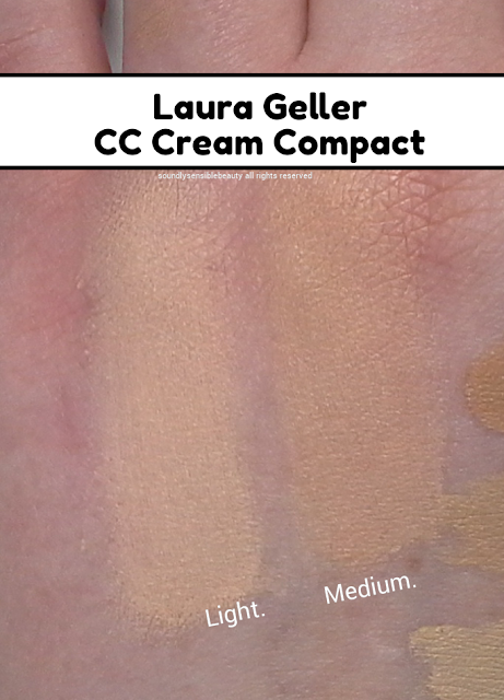 Laura Geller CC Creme Color Correcting Cream Compact SPF 25; Review & Swatches of Shades Light & Medium