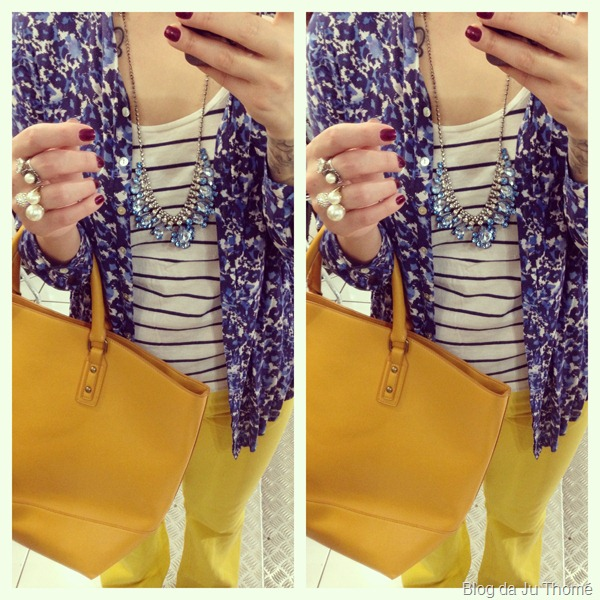 look calça amarela, camisa floral renner, colar renner e blusa listrada (2)