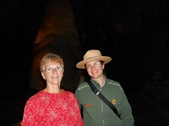 Helen and Park Ranger discussing the Caverns uniqueness!