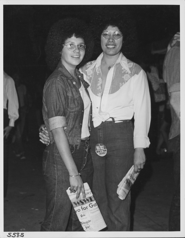 Lesbian couple at the festival following the Los Angeles Christopher Street West pride parade. 1975.