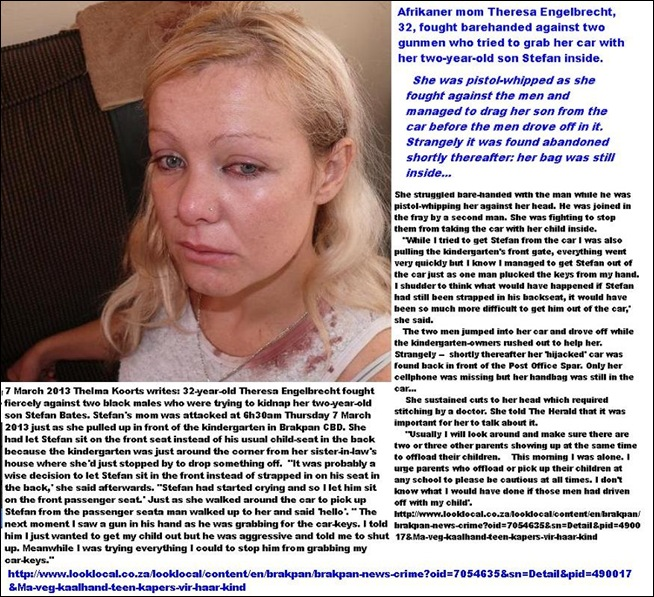 ENGELBRECHT theresa 32 fought barehead against two kidnappers to save child Brakpan Mar72013