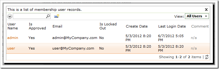 Activating a User Name Lookup will display a list of users.