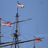 the classical navy flags in Amsterdam, Noord Holland, Netherlands