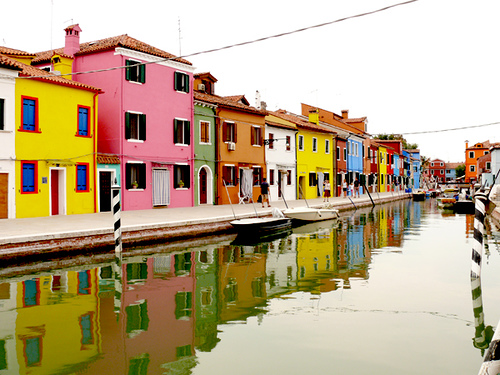 The island off of Venice known as Burano, is full of vibrant, punchy color.  (photography-edu.com)