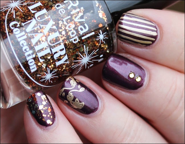 Autumn Nail Art Herbst Nageldesign Mix Match Skittle Purple 02