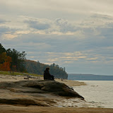 Cheri Enjoying Lake Superior / Minners Beach near Munising / Upper Michigan