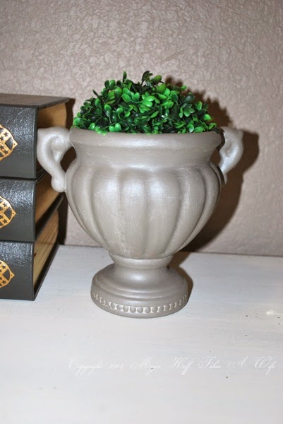 Ballard inspired topiary urn with metallic feel