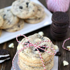 Soft white chocolate pudding cookies with Oreos and white chocolate chips-a new favorite cookie at our house!