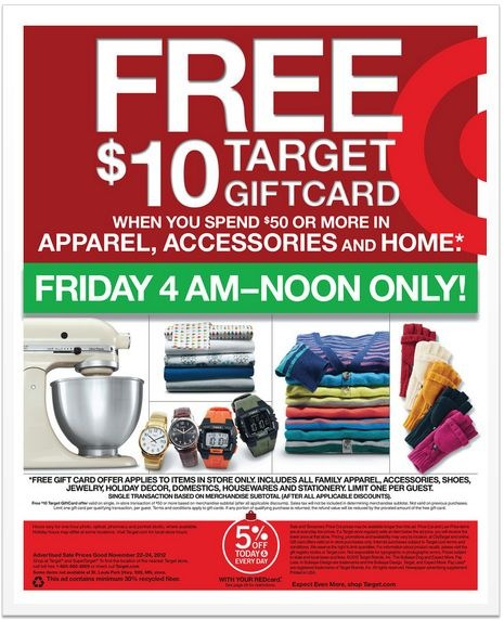 Target Black Friday 2012 deal - FREE giftcard on minimum purchase