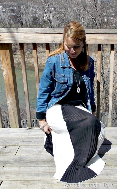 black and white striped maxi skirt, black shirt, Denim jacket, zebra flats4